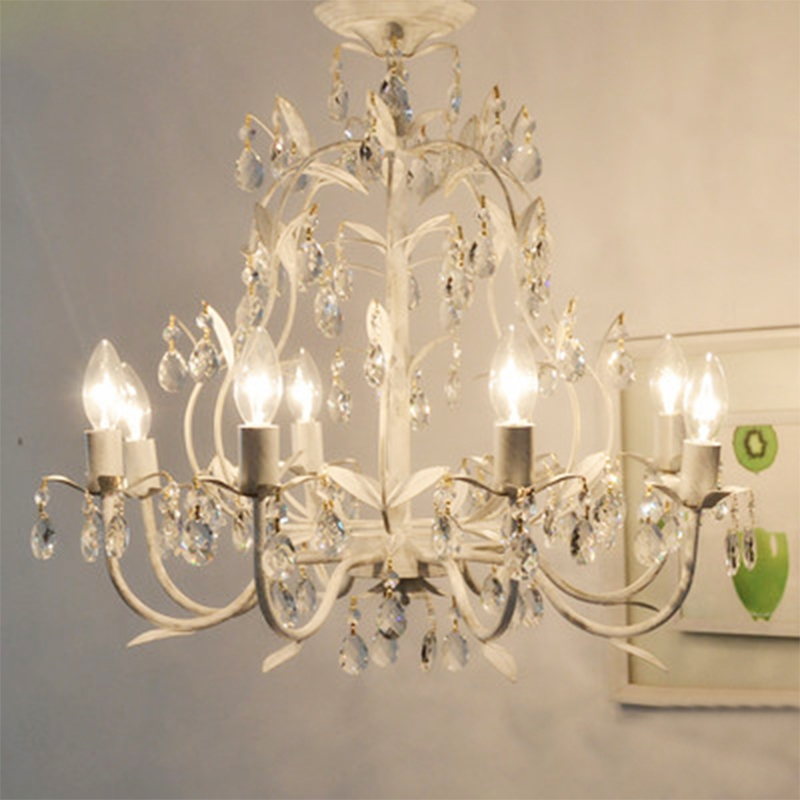 Lampadario Bagno Country Style Vintage White Crystal Rococo Palais Tree