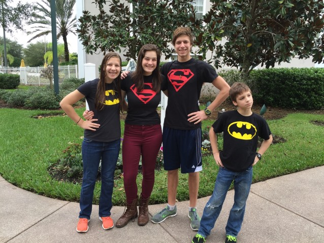 A few of our super kids in their super hero shirts.