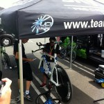 Mechanics setting up one of Wiggins' TT bikes
