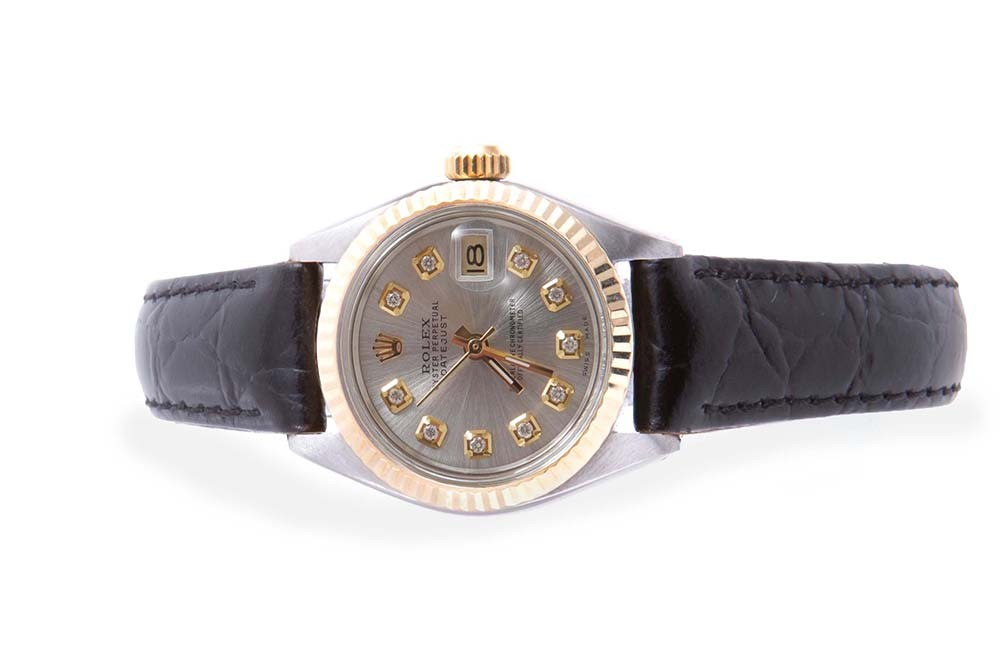 Pre Owned Rolex Ladies Two Tone Datejust With A Silver
