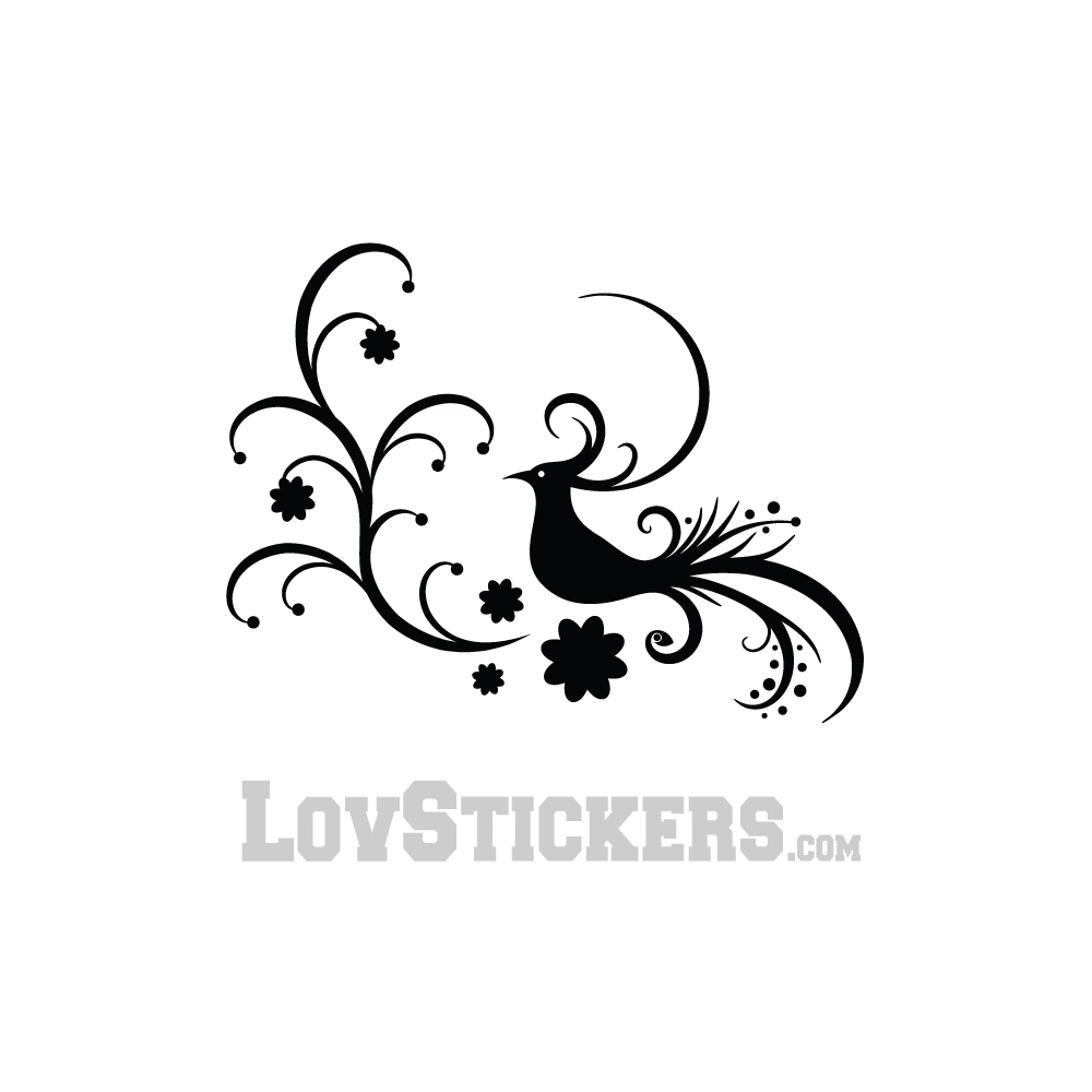 Stickers Decoration Porte Interieur Stickers Oiseau Composition Floral Tribal Décoration Intérieur Couleur Interieur Noir Orientation Sens Normal Taille Small Medium Large