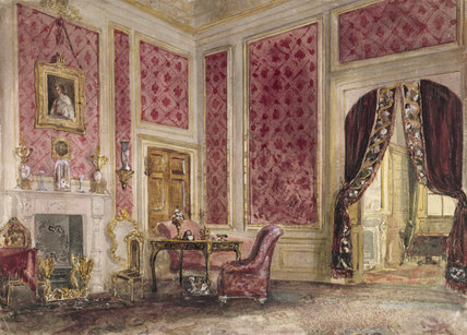Domestic Animals Wallpaper A Watercolour Of An Interior At Belton House In The Study