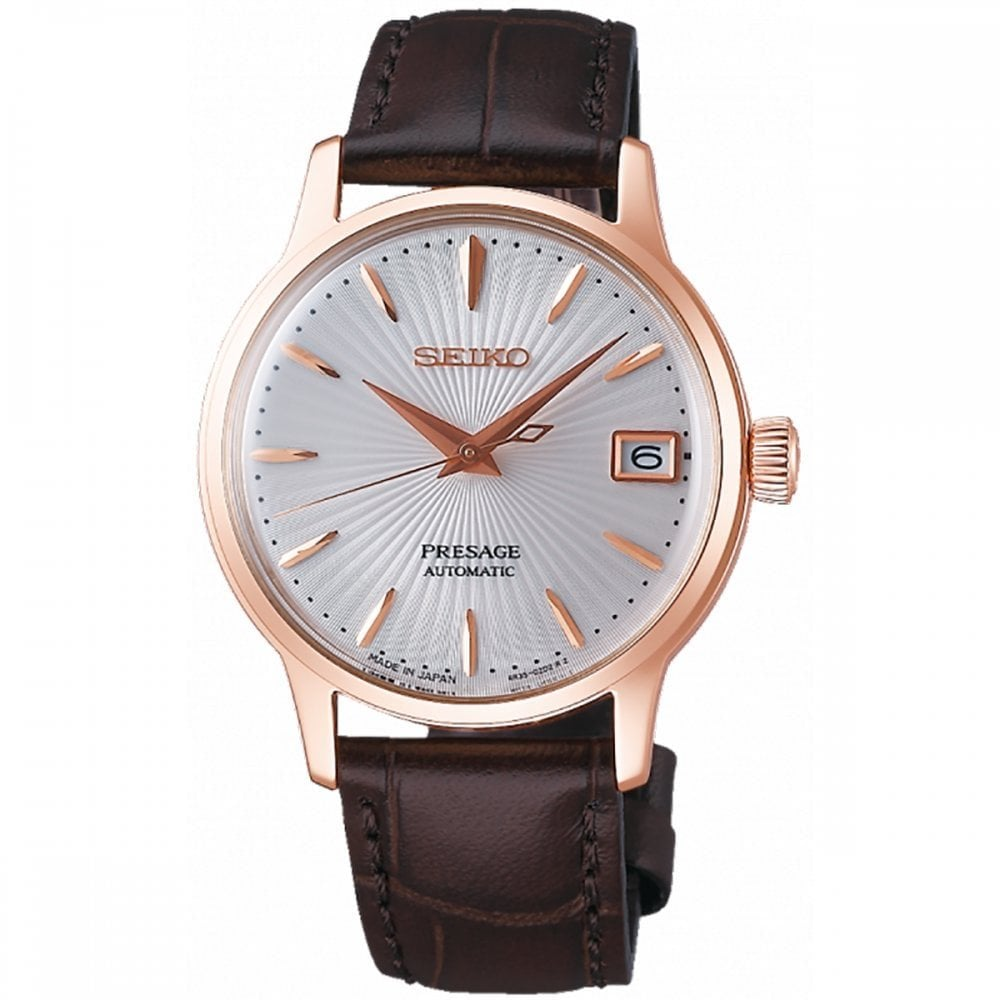 Leather Strap Rose Gold Watch Seiko Seiko Ladies Presage Rose Gold Automatic Leather Strap Watch Srp852j1