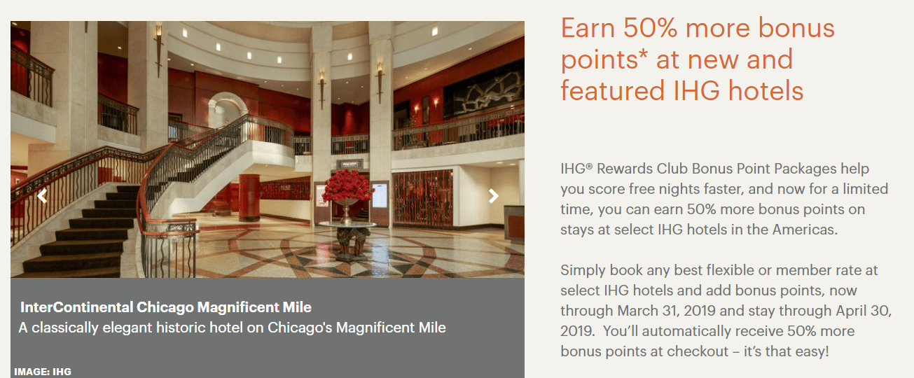 IHG Rewards Club 50 Bonus Points Package Bonus Select Americas