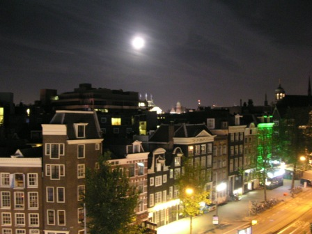Full Moon in Amsterdam viewed from Ramada Hotel
