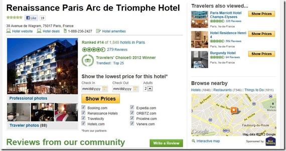 TripAdvisor.com Renaissance Paris Arc