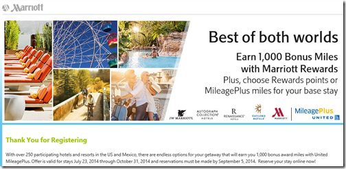 Marriott points and United miles 2014