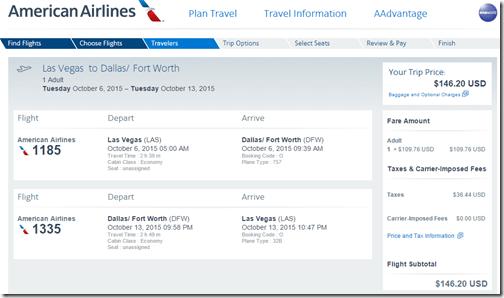 American Las Vegas To Dallas Round Trip 147 Nonstop Aug