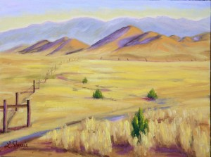"""Carrizo Plain, View from Goodwin Ranch""   oil on canvas 9""x12""   $475"