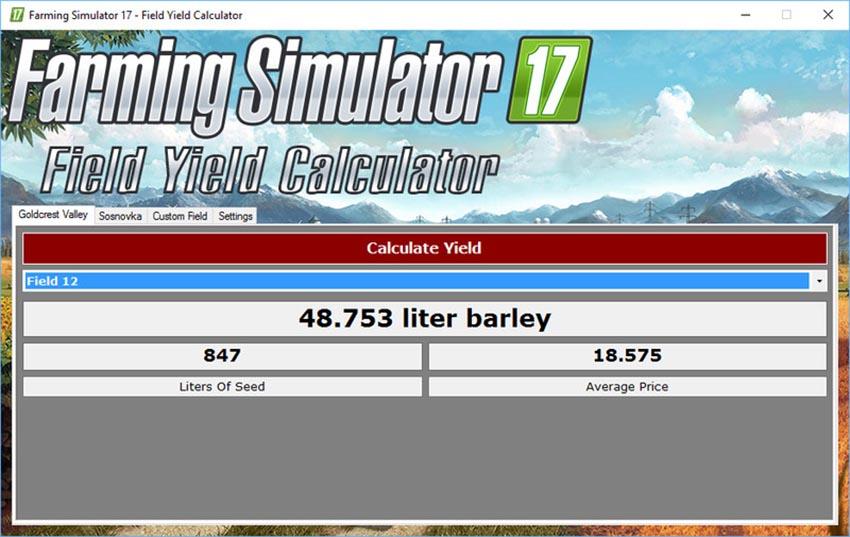 Field Yield Calculator V 12 SP LS2017