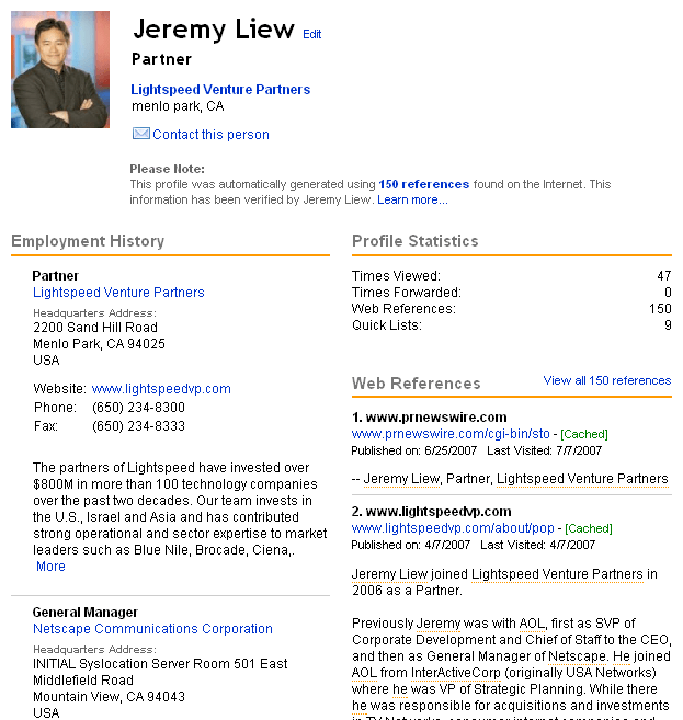 Zoominfo page on Jeremy liew