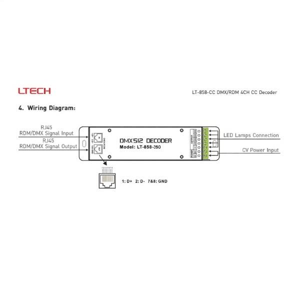 LED Controller DMX 4x350mA - LT-858-350
