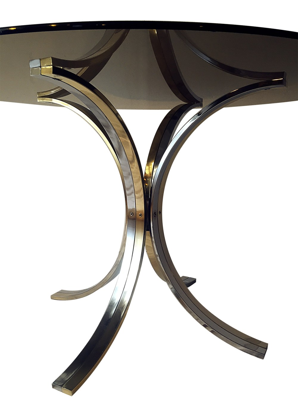 table vintage romeo rega 1970 chrome et laiton