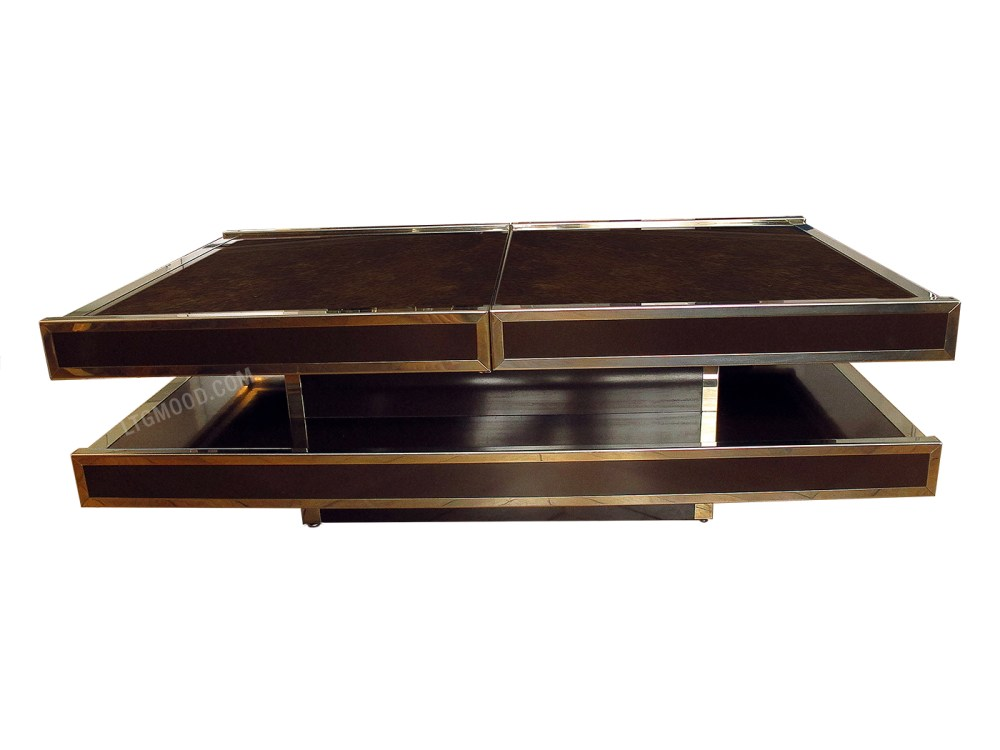 Willy Rizzo Pour Roche Bobois Table Basse Bar Double Plateau 1970