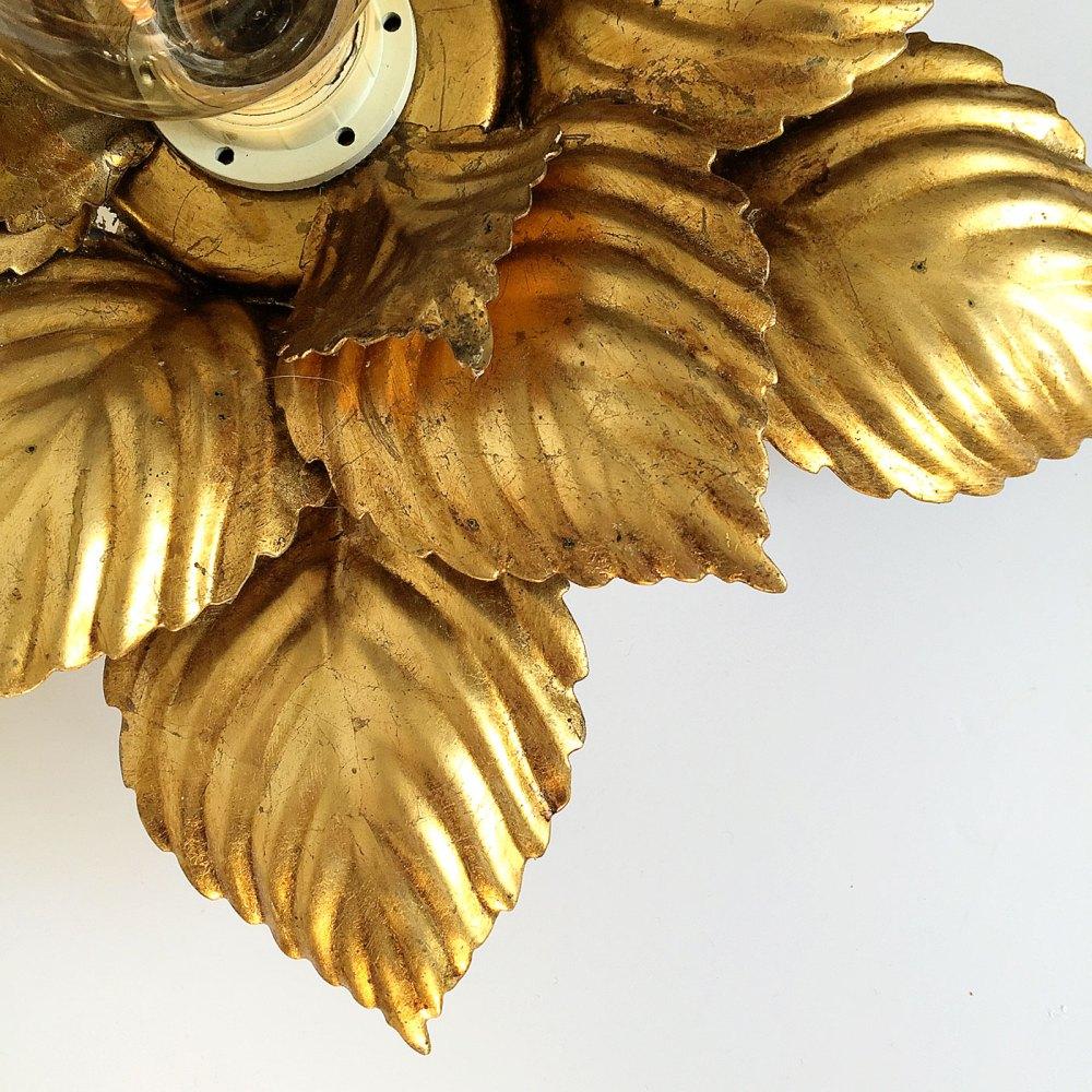masca italy applique, plafonnier floral vintage en métal doré chez ltgmood.com