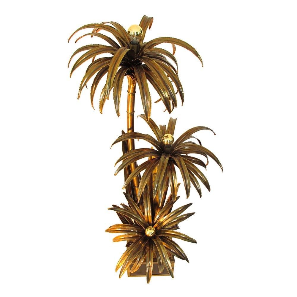 lampadaire palmier trois branches maison jansen 1970, ltgmood.com