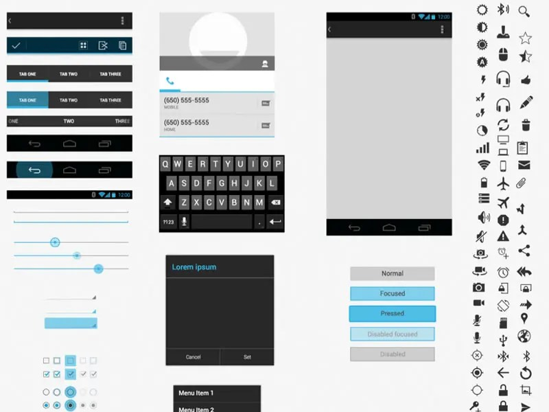 Free Android GUI  Wireframe Templates 2014 - android template
