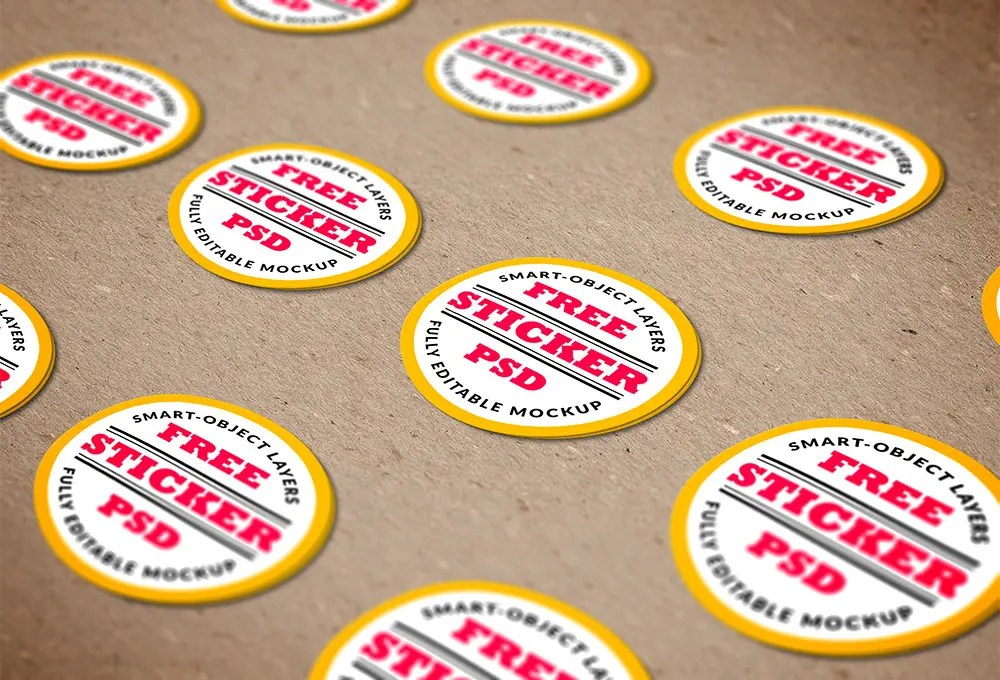 Stickers PSD MockUp Template - free sticker template
