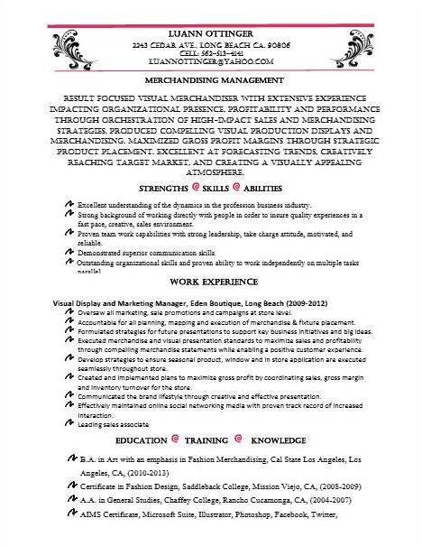 Cover Letter Examples Visual Merchandising Merchandising Assistant Resume Samples Jobhero Resume Luann Ottinger