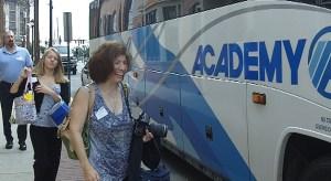 Members board the bus for Burlington County Chamber of Commerce economic development tour