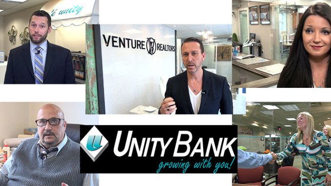 "The latest flight of customer videos from Unity Bank features mortgage clients. Clockwise from left: Robert Miller, Union, NJ; Marcello Petruzzella, owner of Venture Realtors, Elmwood Park, NJ; Katarzyna ""Kasha"" Jackowska, Venture Realtor and a mortgage customer; Realtor Karen Colletti and customer Michele Walten; and Marc Laurano, Realtor, Highland Park, NJ."