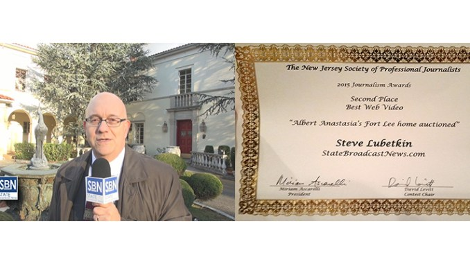 Steve Lubetkin, who reports on-camera for StateBroadcastNews.com, left, and the SPJ New Jersey award.