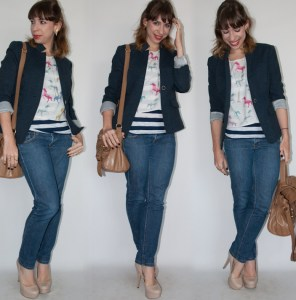 look do dia com blusa estampada e blazer - blog de moda