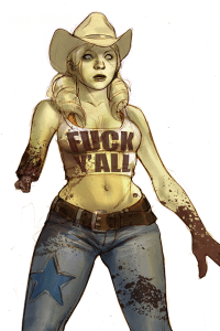 A fresh cowgirl zombie missing part of one arm.