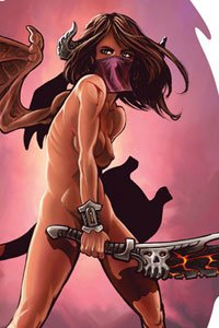 A nude woman with bat wings wields a large dark blade.