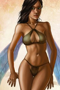 A slender woman with large insect wings coyly stands in a skimpy bikini.