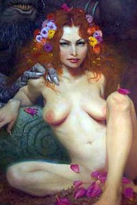 A nude woman with long red hair sits in a magical forest setting.