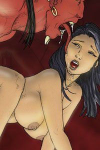 A red-skinned demon licks an anxious naked brunette from behind.