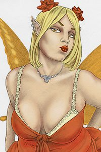 A lovely blond fairy with orange wings and large breasts blows a kiss.