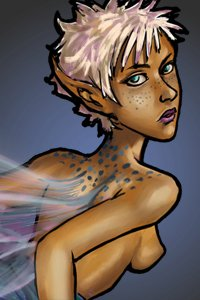 A nude white-haired fairy with translucent wings looks over her shoulder.