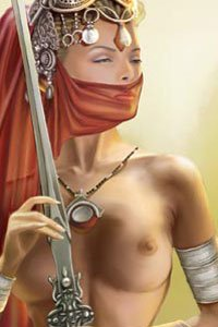 A beautiful veiled woman with bare breasts idly caresses her sword.