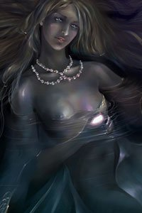 A pale woman with shimmering skin floats in eerily-lit water.
