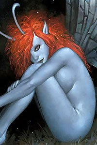 An orange-haired blue-skinned fairy sits nude.