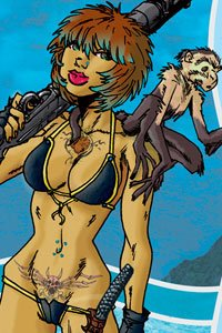 A shapely woman in a tiny bikini with a large gun on one shoulder and a small monkey on the other.