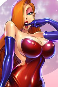 Jessica Rabbit in her familiar skin-tight dress, reveals the narrow waist and tremendous breasts that drive bunnies wild.