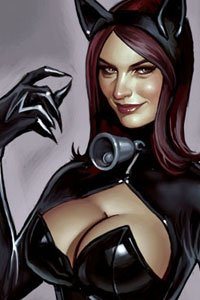 A leather-clad woman with long brown hair, cat ears and large breasts.
