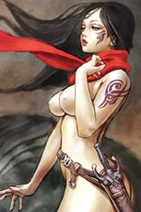 A naked, tattooed woman wearing a holster and a red scarf.