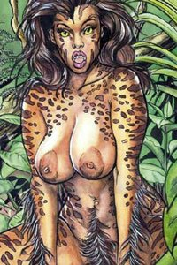 A wild nude woman with tiger stripes crouches in the jungle.