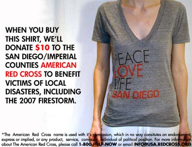 Peace Love Life San Diego T-shirt