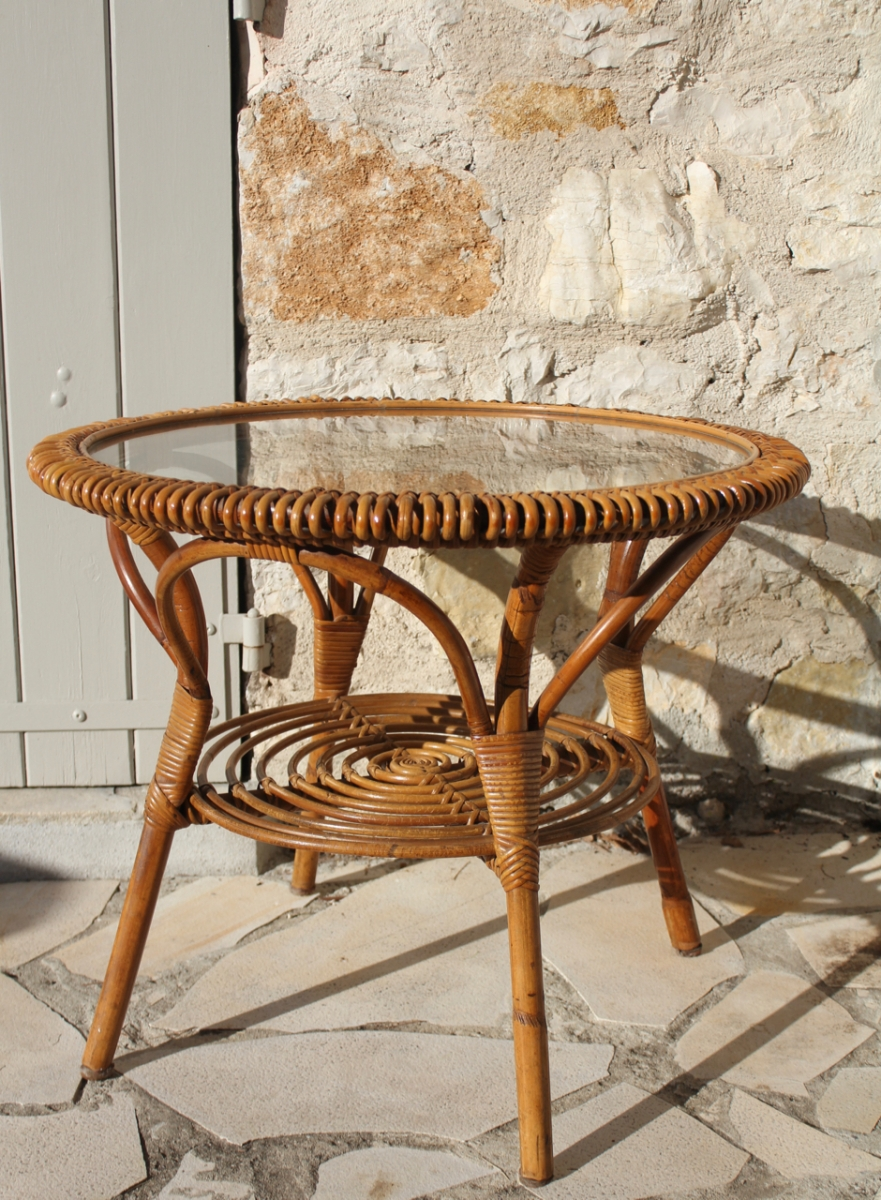 Tables De Salon En Rotin Table Basse En Rotin Vintage Tbe Luckyfind
