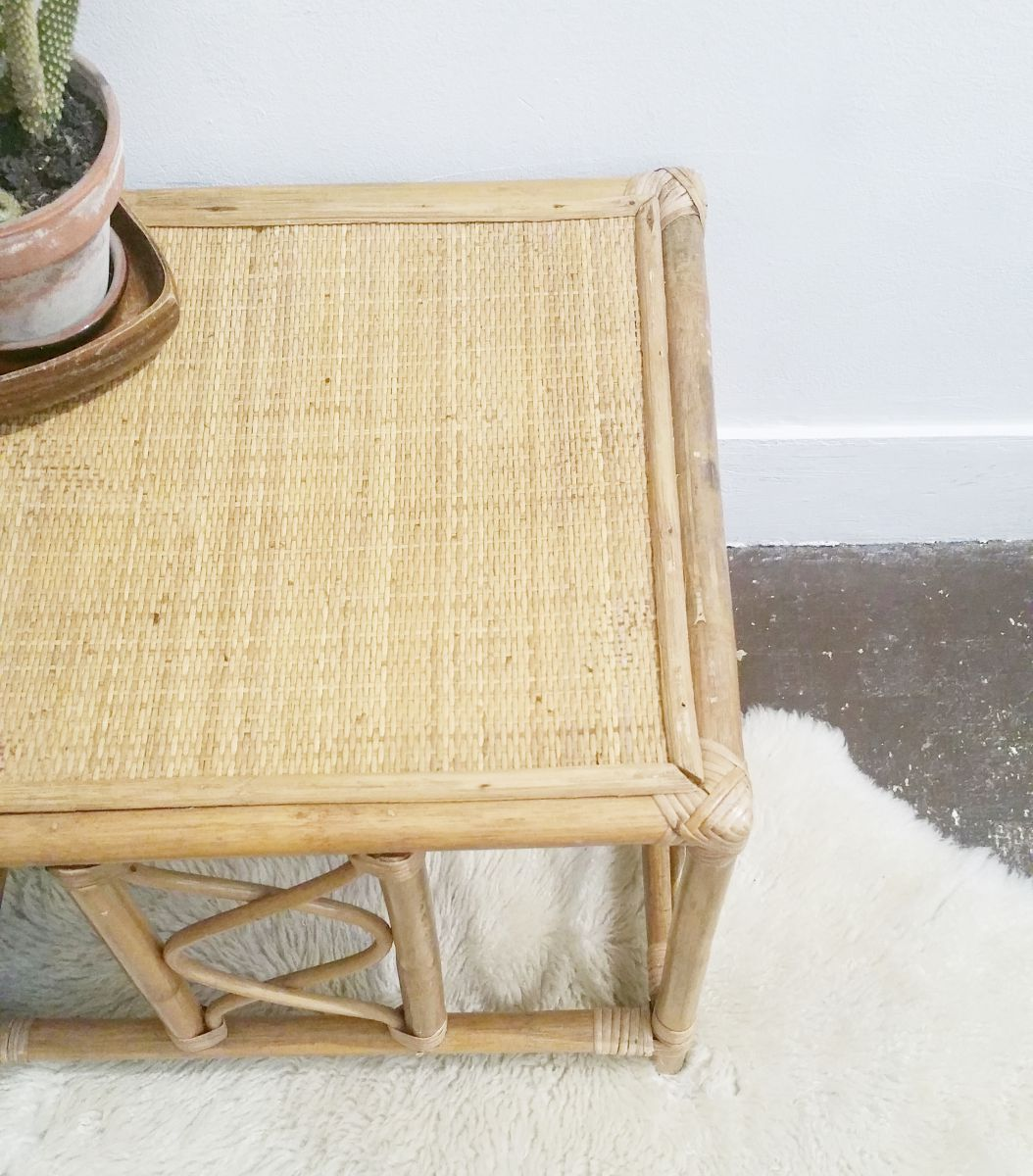 Tables De Salon En Rotin Table Basse Rotin Vintage Luckyfind