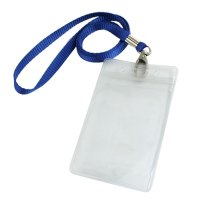 Vertical Clear Plastic ID Badge Card Holder w Neck Strap 2 ...