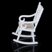 1/12 Miniature Dollhouse Wooden Rocking Chair Model White ...