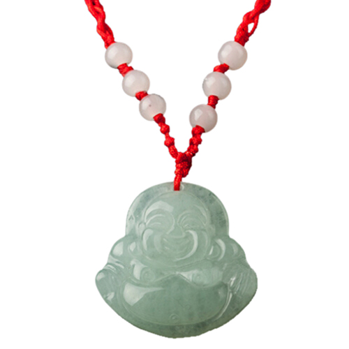 Red String Green Faux Jade Buddha Pendant Jewelry Necklace Ym