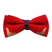 Fashion Casual Chic Flower Pattern Gold Hem Bow Tie For ...