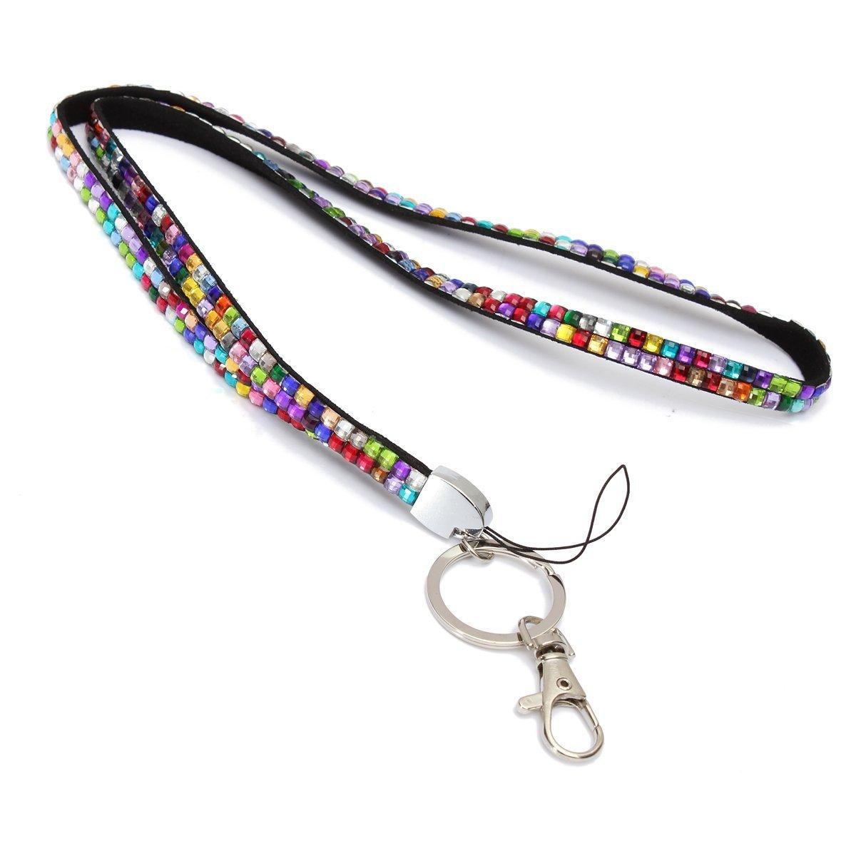 Blue Strap Lanyard Bling Crystal Custom For Id Badge Key